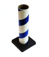 "2.5"" id -  12"" long  - .115"" wall Kraft Tube Blue and White with Plastic Base"