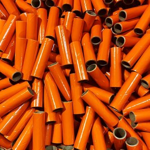 "25 pc 3/4"" id - 3 1/2"" Long Orange Kraft Tube"