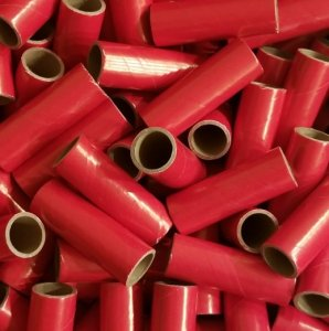 "100pc 1"" id - 3 1/2"" long - 1/8"" wall Red Kraft Tube"