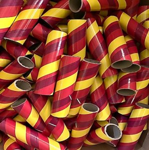 "10pc 1.50"" ID x 7"" Yellow, Red and Maroon Kraft Tube"