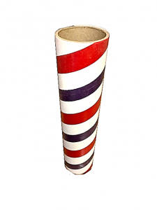 "2.5"" id -  12"" long  - .115"" wall Kraft Tube Red, White and Blue"