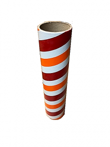 "2.5"" id -  12"" long  - .115"" wall Kraft Tube Red, White and Orange"