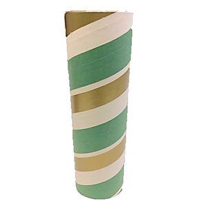 "2.5"" id -  12"" long  - .115"" wall Kraft Tube Green, White and Gold"