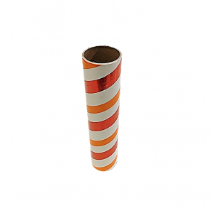 "2.5"" id -  12"" long  - .115"" wall Kraft Tube Orange, White and Red Foil"