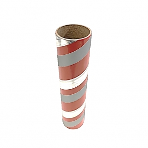 "2.5"" id -  12"" long  - .115"" wall Kraft Tube Red, Gray and Silver Foil"