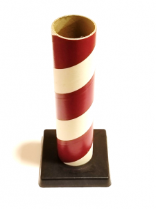 "2.5"" id -  12"" long  - .115"" wall Kraft Tube Red and White with Plastic Base"