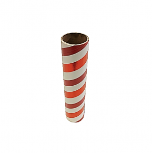 "2.5"" id -  12"" long  - .115"" wall Kraft Tube Red, White and Red Foil"