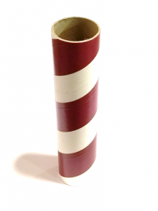 "2.5"" id -  12"" long  - .115"" wall Kraft Tube Red and White"