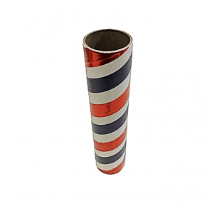 "2.5"" id -  12"" long  - .115"" wall Kraft Tube White, Blue and Red Foil"