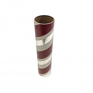"2.5"" id -  12"" long  - .115"" wall Kraft Tube White, Maroon and Silver Foil"