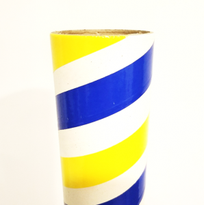 "3"" id -  15"" long  - .150"" wall  Kraft Tube Blue, White and Yellow"