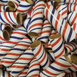 "25pc 1"" id - 4"" long - 1/8"" wall Red White Blue Striped Tube"