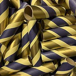 "10pc 1.25"" ID x 6"" Navy, Gold and Yellow Kraft Tube"