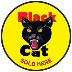 "Black Cat Sold Here Decal 8"" Diameter"