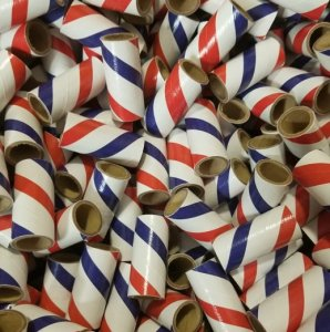 "50pc 9/16"" id - 1 1/2"" long - 1/16"" wall Red White Blue Striped Tube"
