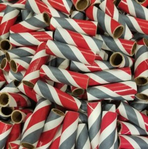 "25pc 3/4"" id - 3"" long - 1/16"" wall Red, White and Gray Kraft Tubes"