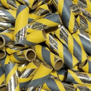 "25pc 3/4"" id - 3"" long - 1/16"" wall Yellow, Gray and Foil"