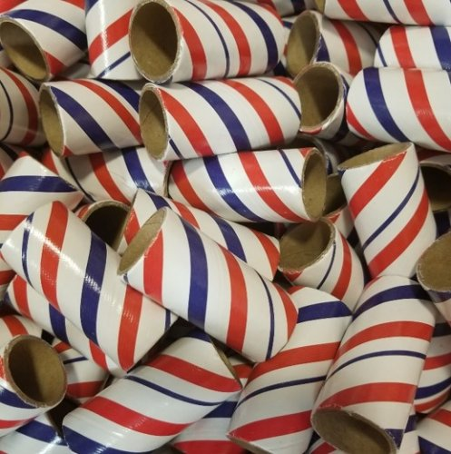 "50pc 1"" id - 2 1/2"" long - 3/32"" wall Red White Blue Striped Tube"